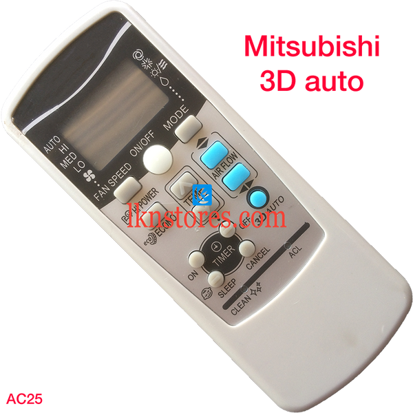 MITSUBISHI AC AIR CONDITION REMOTE 3D AUTO COMPATIBLE AC25 - LKNSTORES