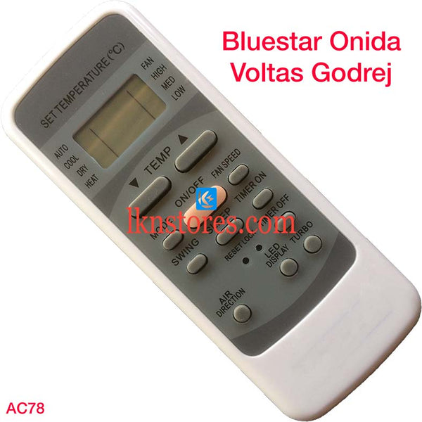BLUESTAR ONIDA VOLTAS GODREJ AC AIR CONDITION REMOTE COMPATIBLE AC78