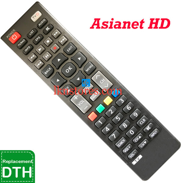 Asianet HD Set top Box DTH replacement remote control
