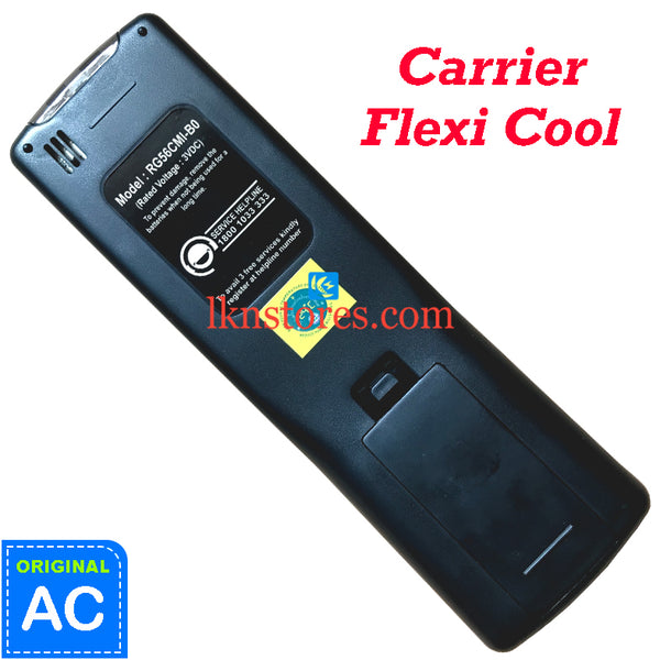 Carrier AC Flexi Cool Original Remote Control RG56CMI-B0 Back View