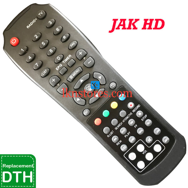 JAK Set top Box Recording HD DTH Replacement remote control