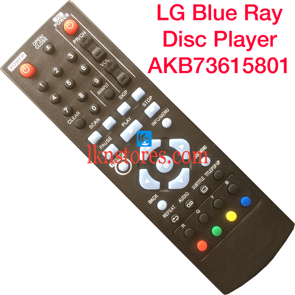 LG Blue Ray Disc DVD Player remote AKB73615801 Replacement - LKNSTORES