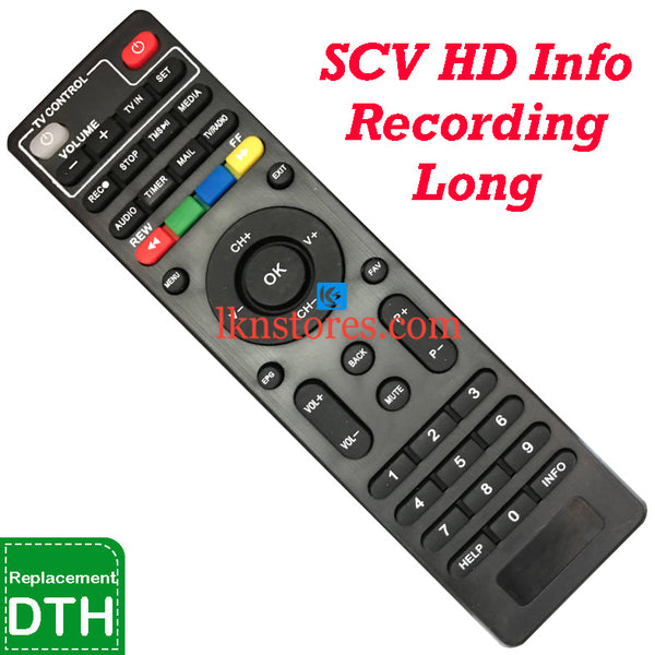 SCV Set Top Box DTH Long Recording Info replacement Remote Control