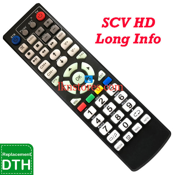 SCV Set Top Box DTH Long HD Info replacement Remote Control-LKNSTORES