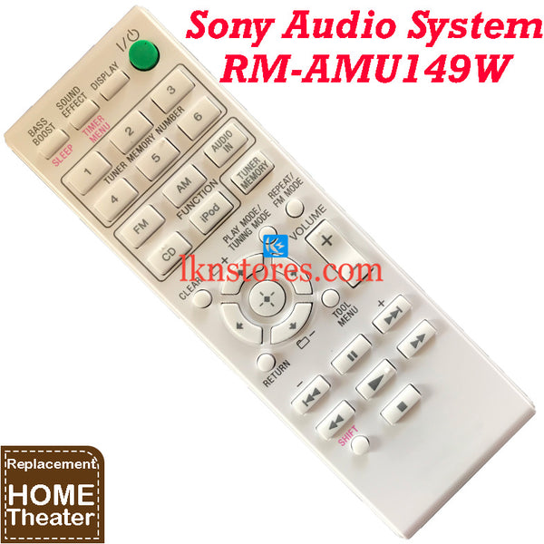Sony RM-AMU149W Audio System for CD-MP3 CMT-V10IPW Replacement Remote Control