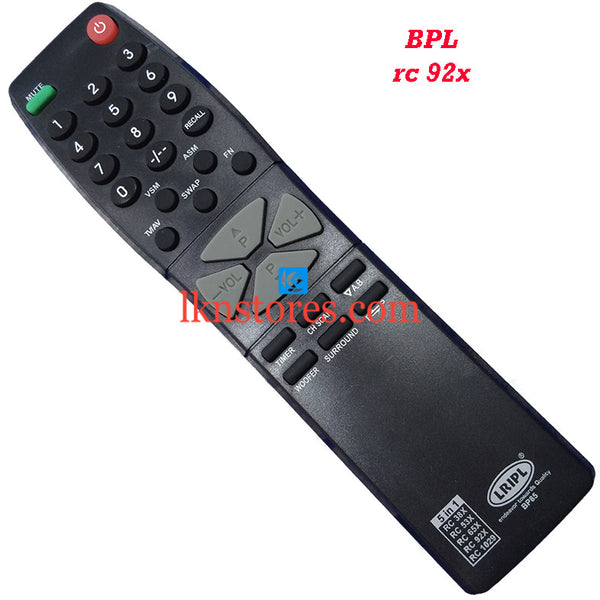 BPL RC 92X replacement remote control - LKNSTORES