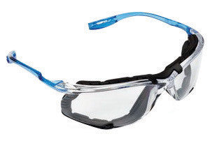 3M Virtua CCS Safety Glasses With Blue And Clear Polycarbonate Frame, Silver Mirror Indoor/Outdoor Polycarbonate Anti-Fog Lens And Foam Gasket Attachment