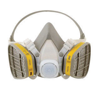 3M Medium Yellow Thermoplastic Elastomer Half Mask 5000 Series Disposable Air Purifying Respirator With 4 Point Harness