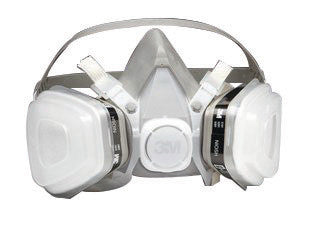 3M Medium Black Thermoplastic Elastomer Half Mask 5000 Series P95 Disposable Dual Cartridge Air Purifying Respirator With 4 Point Harness