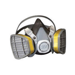 3M Large Yellow Thermoplastic Elastomer Half Mask 5000 Series Disposable Air Purifying Respirator With 4 Point Harness
