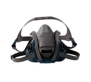 3M Large Gray And Teal Silicone And Nylon 6500 Series Half Facepiece Rugged Comfort Reusable Respirator With 4 Point Quick Latch Harness And Bayonet Connection