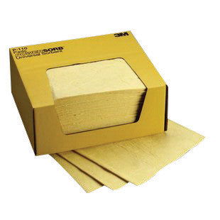 "3M 11"" X 13"" Yellow Polypropylene And Polyester Sorbent Pad"