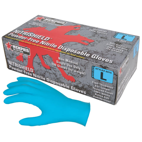 Memphis 6015 Nitrishield Disposable Nitrile Industrial Grade Gloves - Powder Free - Blue - 4 mil