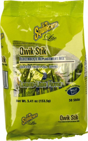 Sqwincher™ .11 Ounce Qwik Stik» ZERO Instant Powder Concentrate Stick Lemon Lime Electrolyte Drink - Yields 20 Ounces (50 Each Per Package)