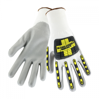 Barracuda White HPPE shell with grey PU dip cut protection gloves Back of hand TPR protection