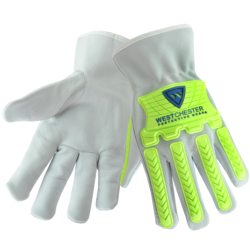 West Chester® Cow leather driver with spilt cow back of hand, and hi-vis green 7mm TPR and Keystone thumb