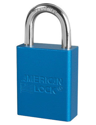 "American Lock™ Blue 1 1/2"" X 3/4"" Aluminum 5 Pin Safety Lockout Padlock With 1/4"" X 3/4"" X 1"" Shackle (6 Locks Per Set, Keyed Differently)"