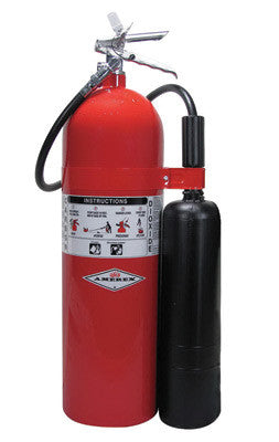 Amerex™ 20 Pound Stored Pressure Carbon Dioxide 10-B:C Fire Extinguisher For Class B And C Fires With Chrome Plated Brass Valve, Wall Bracket, Hose And Horn