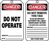 "Accuform Signs™ 5 3/4"" X 3 1/4"" 15 mils RP-Plastic Accident Prevention Safety Tag DANGER DO NOT OPERATE With Disciplinary Action Warning On Back (25 Per Pack)"