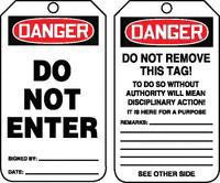 "Accuform Signs™ 5 3/4"" X 3 1/4"" 10 mils PF-Cardstock Accident Prevention Safety Tag DANGER DO NOT ENTER With Disciplinary Action Warning On Back (25 Per Pack)"