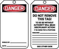 "Accuform Signs™ 5 3/4"" X 3 1/4"" 10 mils PF-Cardstock Accident Prevention Safety Tag DANGER (BLANK) With Disciplinary Action Warning On Back (25 Per Pack)"