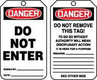 "Accuform Signs™ 5 3/4"" X 3 1/4"" 10 mils PF-Cardstock Accident Prevention Safety Tag DANGER DO NOT ENTER With Do Not Remove Tag Warning On Back (25 Per Pack)"