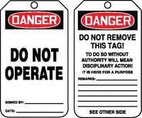 "Accuform Signs™ 5 3/4"" X 3 1/4"" 10 mils PF-Cardstock Accident Prevention Safety Tag DANGER DO NOT OPERATE With Do Not Remove Tag Warning On Back (25 Per Pack)"