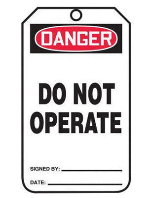 "Accuform Signs™ 5 3/4"" X 3 1/4"" Black, Red And White 10 mil PF-Cardstock Safety Tag ""DANGER DO NOT OPERATE"" With 3/8"" Hole (5 Per Pack)"