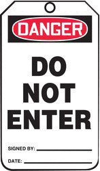 "Accuform Signs™ 5 3/4"" X 3 1/4"" Black, Red And White HS-Laminate English Accident Prevention Safety Tag ""DANGER DO NOT ENTER"" With Pull-Proof Metal Grommeted 3/8"" Reinforced Hole, Do Not Remove Tag Warning On Back And Standard Back B (25 Per Pack)"