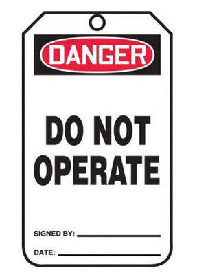 "Accuform Signs™ 5 3/4"" X 3 1/4"" Black, Red And White 15 mil RP-Plastic Safety Tag ""DANGER DO NOT OPERATE"" With Metal Grommeted 3/8"" Reinforced Hole (25 Per Pack)"