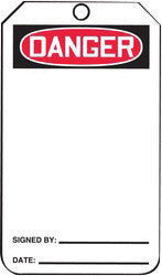 "Accuform Signs™ 5 3/4"" X 3 1/4"" Black, Red And White HS-Laminate Accident Prevention Blank Tag ""DANGER"" With Pull-Proof Metal Grommeted 3/8"" Reinforced Hole And OSHA Header (25 Per Pack)"