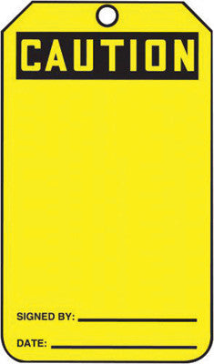 "Accuform Signs™ 5 3/4"" X 3 1/4"" Black And Yellow HS-Laminate Accident Prevention Blank Tag ""CAUTION"" With Pull-Proof Metal Grommeted 3/8"" Reinforced Hole And OSHA Header (25 Per Pack)"