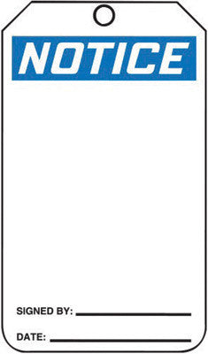 "Accuform Signs™ 5 3/4"" X 3 1/4"" Black, Blue And White HS-Laminate Accident Prevention Blank Tag ""NOTICE"" With Pull-Proof Metal Grommeted 3/8"" Reinforced Hole And OSHA Header (25 Per Pack)"