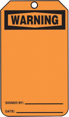 "Accuform Signs™ 5 3/4"" X 3 1/4"" Black And Orange HS-Laminate Accident Prevention Blank Tag ""WARNING"" With Pull-Proof Metal Grommeted 3/8"" Reinforced Hole (25 Per Pack)"