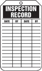 "Accuform Signs™ 5 3/4"" X 3 1/4"" Black And White HS-Laminate English Equipment Status Tag ""INSPECTION RECORD"" With Pull-Proof Metal Grommeted 3/8"" Reinforced Hole (25 Per Pack)"