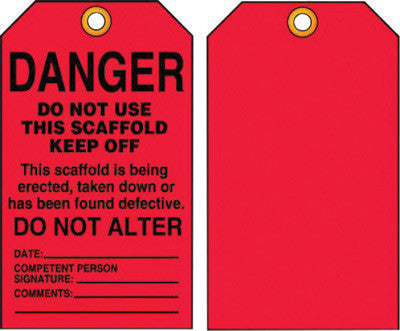 "Accuform Signs™ 5 3/4"" X 3 1/4"" Black And Red 15 mil RP-Plastic English Scaffold Status Tag ""DANGER DO NOT USE THIS SCAFFOLD KEEP OFF ..."" With Metal Grommeted 3/8"" Reinforced Hole (25 Per Pack)"