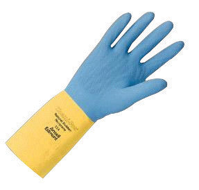 "Ansell Size 7 Blue Over Yellow Chemi-Pro™ 13"" Cotton Flock Lined 27 mil Unsupported Neoprene Natural Rubber Latex Heavy Duty Chemical Resistant Gloves With Recessed Diamond Embossed Finish And Pinked Cuff"