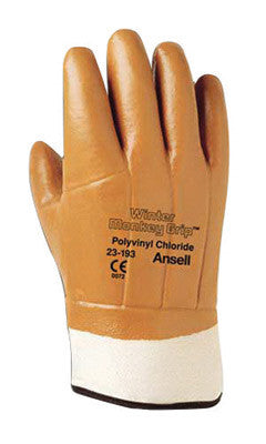 Ansell Size 10 Orange Winter Monkey Grip Jersey Lined Cold Weather Gloves With Wing Thumb, Safety Cuff, PVC Fully Coated And Foam Insulation