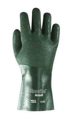"Ansell Size 10 Green Snorkel™ 12"" Jersey Knit Lined 15 mil PVC Fully Coated Chemical Resistant Gloves With Rough Finish And Gauntlet Cuff"