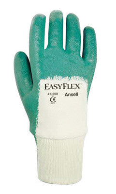 Ansell Size 7 Easy Flex™ Light Duty Multi-Purpose Cut And Abrasion Resistant White And Green Nitrile Palm Coated Work Gloves With Cotton Knit Liner And Knit Wrist