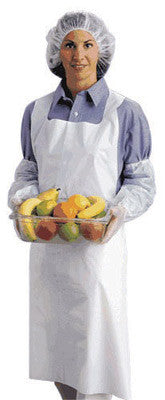 "Ansell 28"" X 45"" White 1.75 mil Embossed Polyethylene Disposable Apron (100 Per Box)"