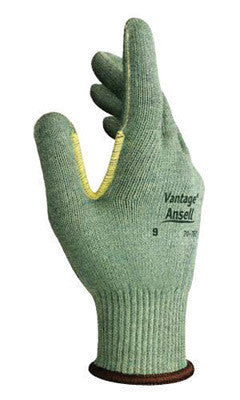 Ansell Size 10 Green Vantage™ Medium Weight Cut Resistant Gloves With Knit Wrist, Kevlar™ Poly Cotton Lined And Reinforced Thumb Crotch