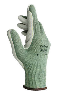 Ansell Size 8 Green Vantage™ Medium Weight Cut Resistant Gloves With Knit Wrist, Kevlar™ Poly Cotton Lined, Leather Pad Coating, Reinforced Thumb Crotch