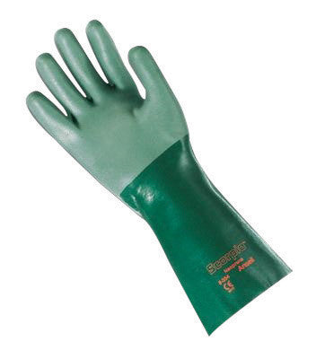 "Ansell Size 10 Green Scorpio™ 14"" Interlock Knit Lined 30 mil Neoprene Fully Coated Heavy Duty Chemical Resistant Gloves With Rough Finish And Gauntlet Cuff"