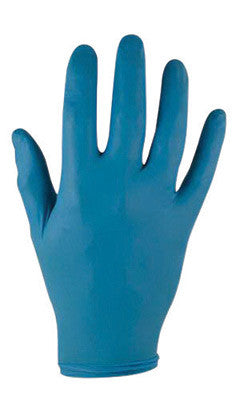 "Ansell Large Blue 9 1/2"" TNT™ Blue 5 mil Nitrile Ambidextrous Lightly Powdered Disposable Gloves With Textured Finger Tip Finish And Rolled Beaded Cuff"