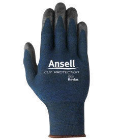 Ansell Size 8 Black And Blue Clute Cut Medium Weight Cut Resistant Gloves With Knit Wrist, Intercept Technology™ With DuPont Kevlar™ Lined And Foam Nitrile Coating