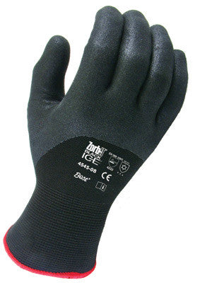 SHOWA Black Zorb-IT™ And BLACK-ICE Nitrile Palm And Knuckle Coated Acrylic Fleece Lined Cold Weather Gloves With Knit Wrist