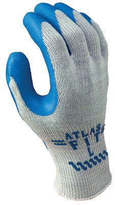 SHOWA Best™ Glove Size 9 Atlas Fit™ 300 10 Gauge Light Weight Abrasion Resistant Blue Natural Rubber Palm Coated Work Gloves With Light Gray Cotton And Polyester Liner And Elastic Knit Wrist