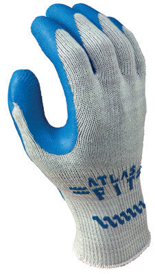 SHOWA Best™ Glove Size 7 Atlas Fit™ 300 10 Gauge Light Weight Abrasion Resistant Blue Natural Rubber Palm Coated Work Gloves With Light Gray Cotton And Polyester Liner And Elastic Knit Wrist