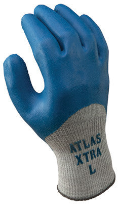 SHOWA Best™ Glove Size 9 Atlas™ XTRA 305 10 Gauge Light Weight General Purpose Abrasion Resistant Blue Natural Latex Palm And Knuckle Coated Work Gloves With Light Gray Seamless Cotton And Polyester Knit Liner And Elastic Knit Wrist